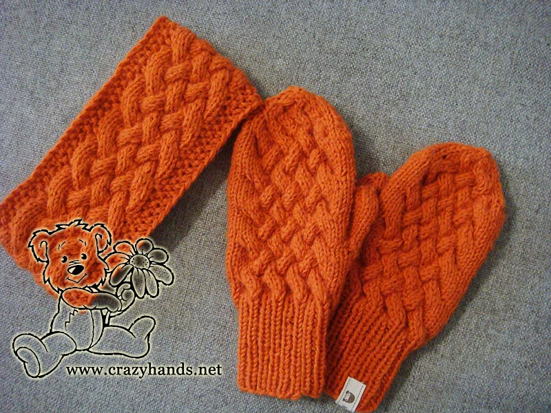 Knitted mitten patterns: wicker style by Crazy Hands Knitting