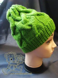 Easy knit hat pattern: finished cable hat