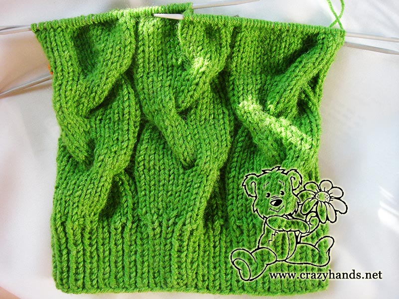 Easy Knit Hat Pattern - Shamrock Green Cable Hat · Crazy Hands Knitting