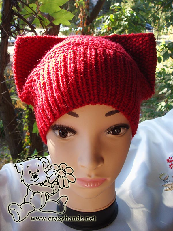 Kitty Hat Pattern Seed Stitch Hat Crazy Hands Knitting