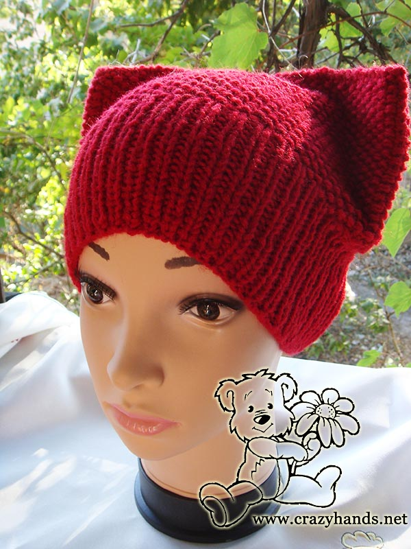 Kitty Hat Pattern (Seed Stitch Hat) · Crazy Hands Knitting