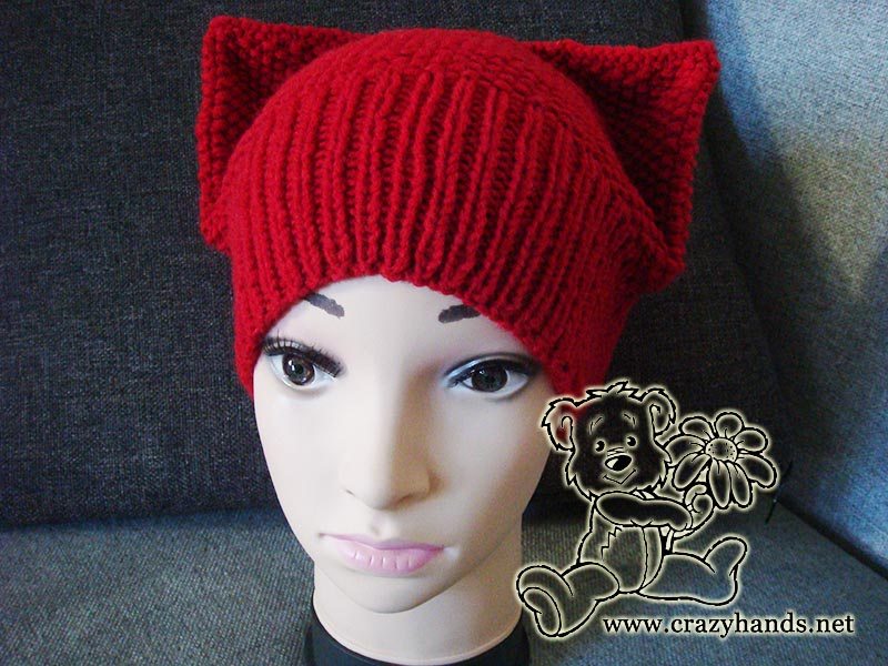 Kitty hat pattern <br/> (seed stitch knitting)