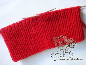 Kitty knitting hat pattern: full width of the ribbing