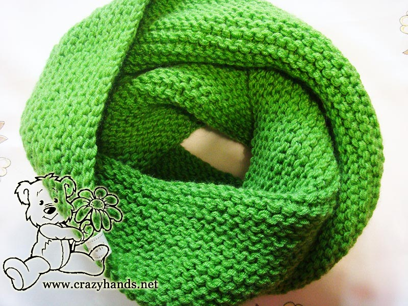 Shamrock Green Infinity Scarf Knitting Pattern 183 Crazy Hands Knitting