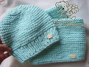 knitted baby hat and infinity knit scarf pattern