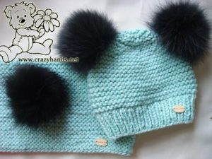 knitted baby hat with fur pom poms and infinity knit scarf pattern
