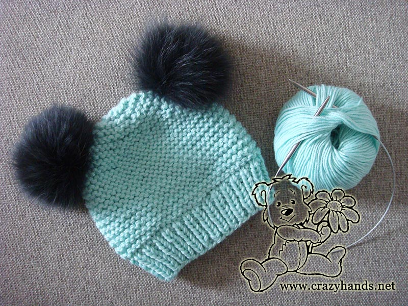 Ocean Blue Knitted Baby Hat Crazy Hands Knitting