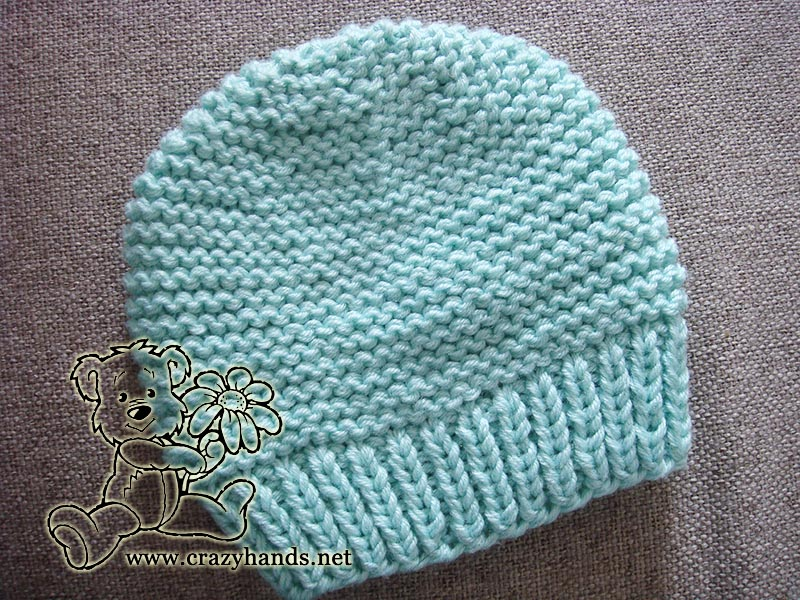 Ocean Blue Knitted Baby Hat 183 Crazy Hands Knitting