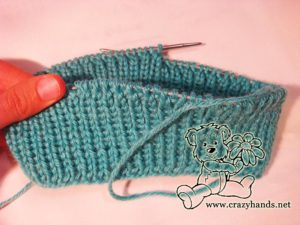 6 cm ribbing of cable hat knitting pattern