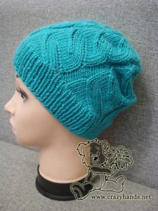 azure cable hat on the mannequin