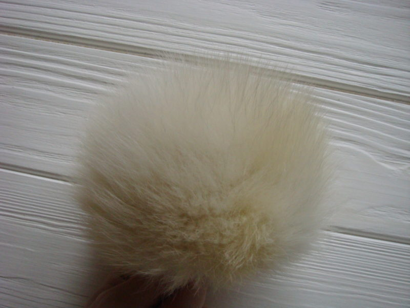 White and Yellow fur pom pom