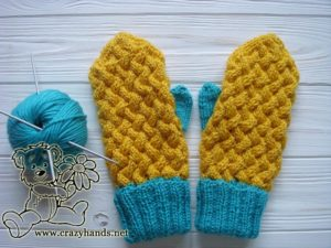 Finished pair of knit mittens and a skein of yarn