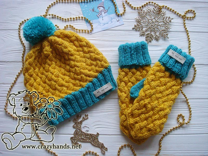 Knit Mittens Wicker Styled Set In Swedish Colors By Crazy Hands