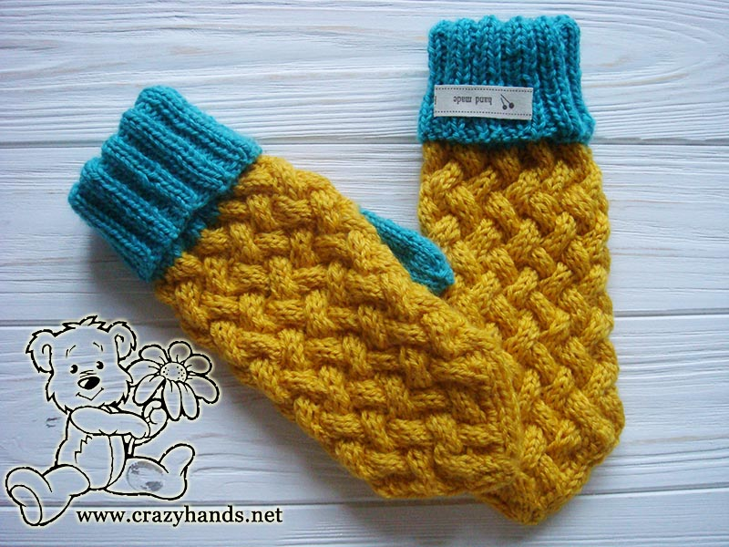 Wicker knitting set: Swedish style knit mittens pattern.