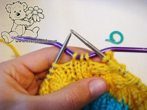 knitting the body of simple knit hat - step #2
