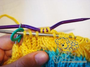 knitting the body of simple knit hat - step #3