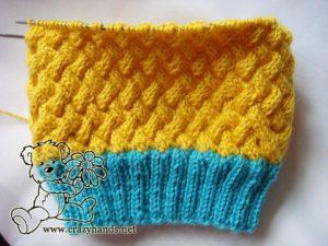 half-finished knit hat