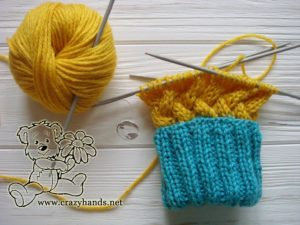 Knit mittens: knitting cables part