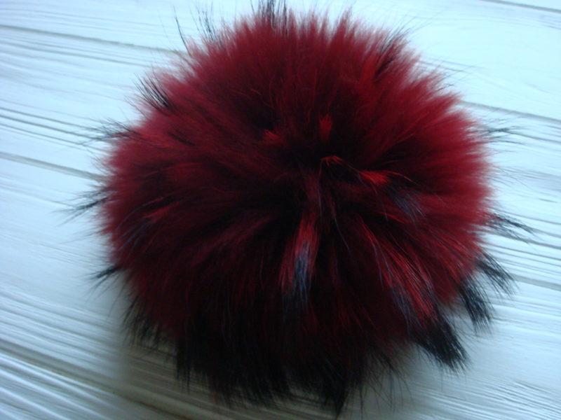 Dark red pom pom