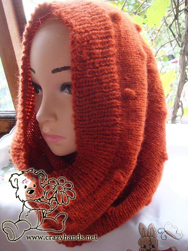 Knitted Cowl Pattern (Carrot Orange) · Crazy Hands Knitting