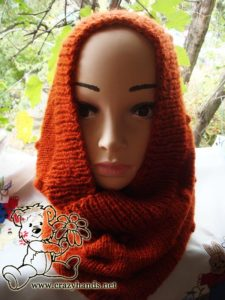 knit hooded cowl on the mannequin