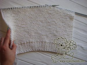 Knitting the body of the oversized knit sweater – back part