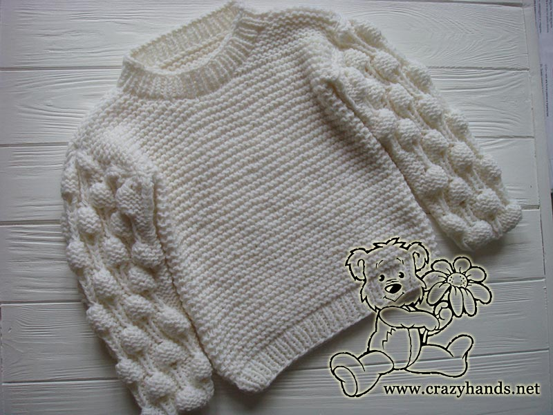 cf01f452a5cd0b Oversized Knit Sweater Pattern with Bobbles · Crazy Hands Knitting