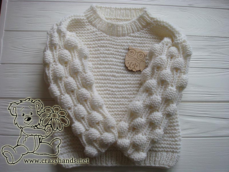 Oversized knit sweater with bobbles (kid's knits)