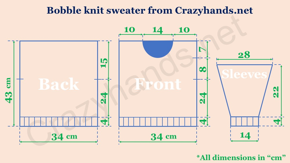Scheme with measurements of the oversized knit sweater