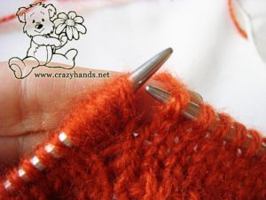 Knitted Cowl Pattern: how to knit bobble stitch - step #4