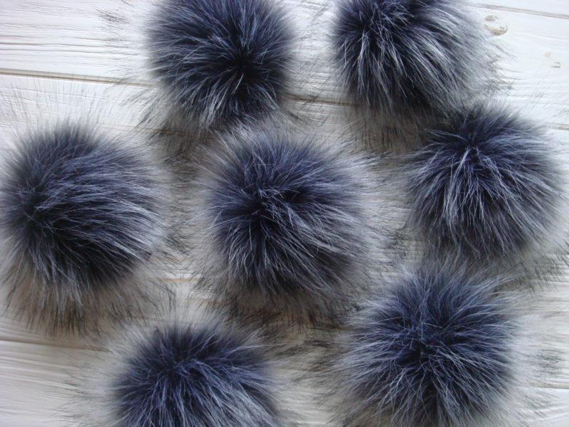 FAUX Silver Fox Pom pom