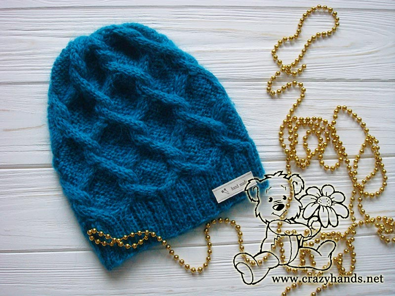 Diamond Knit Cable Hat Pattern Crazy Hands Knitting