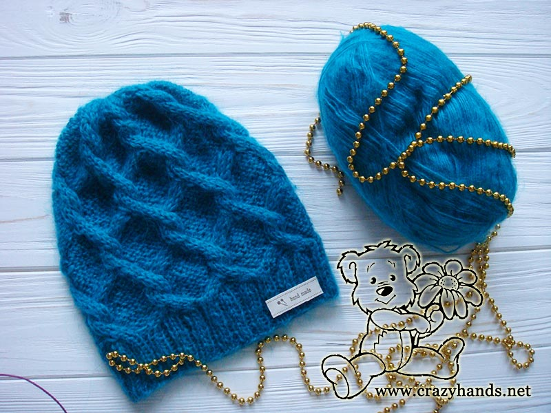 Diamond Knit Cable Hat Pattern · Crazy Hands Knitting