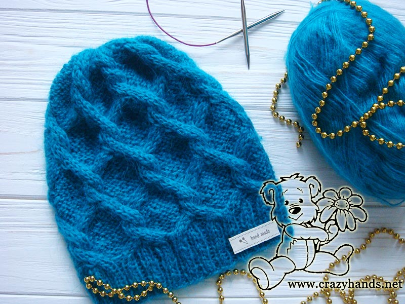 Diamond Knit Cable Hat Pattern 183 Crazy Hands Knitting