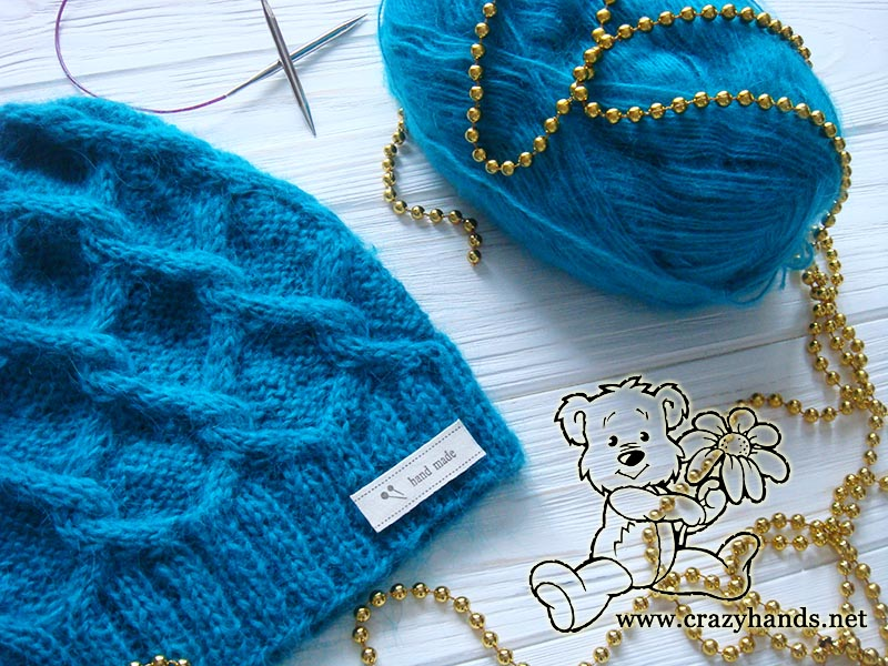 238a0024762 Diamond Knit Cable Hat Pattern · Crazy Hands Knitting