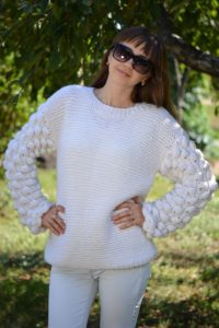 adult oversized knit sweater with bobbles