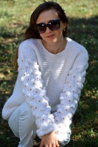 white adult oversized knit sweater with bobbles