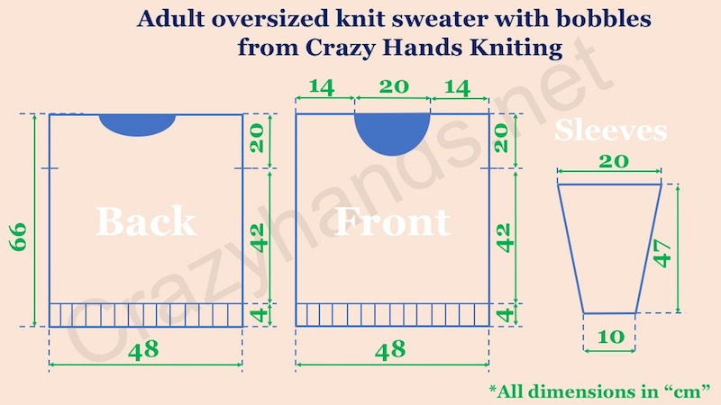 Adult oversized knit sweater pattern with bobbles