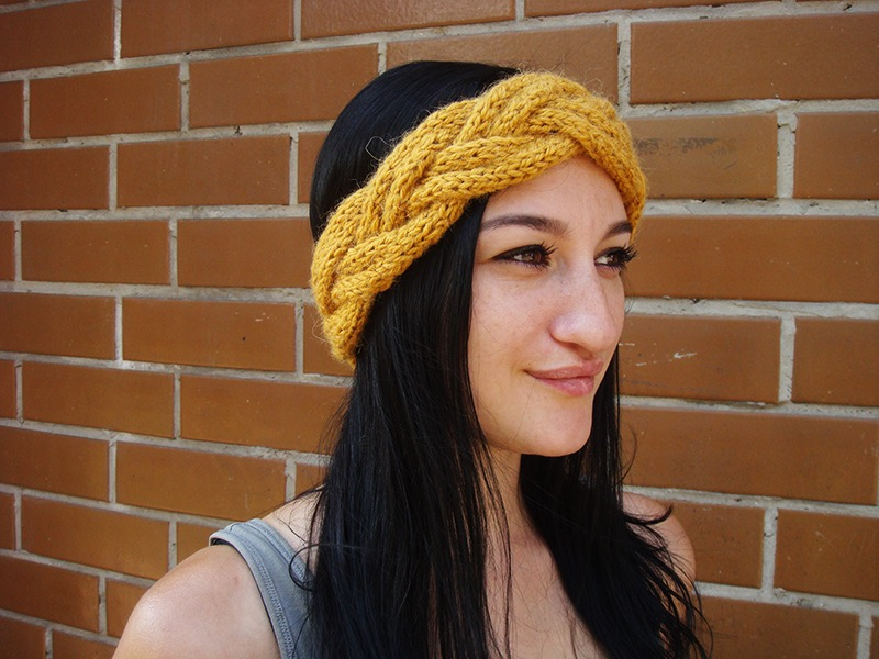 photo session of a girl with braided knit headband