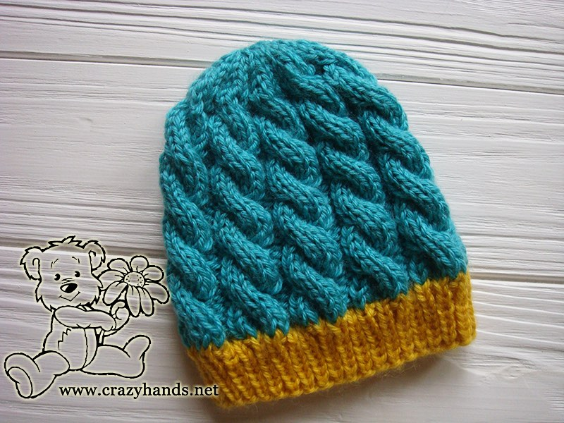 Finished Newborn Blue Primrose Knit Hat