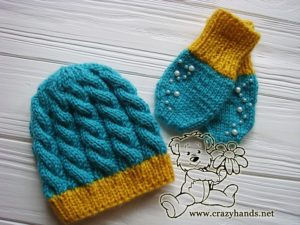 Knitted Set for a Newborn Baby - Knit Hat & Knit Mittens