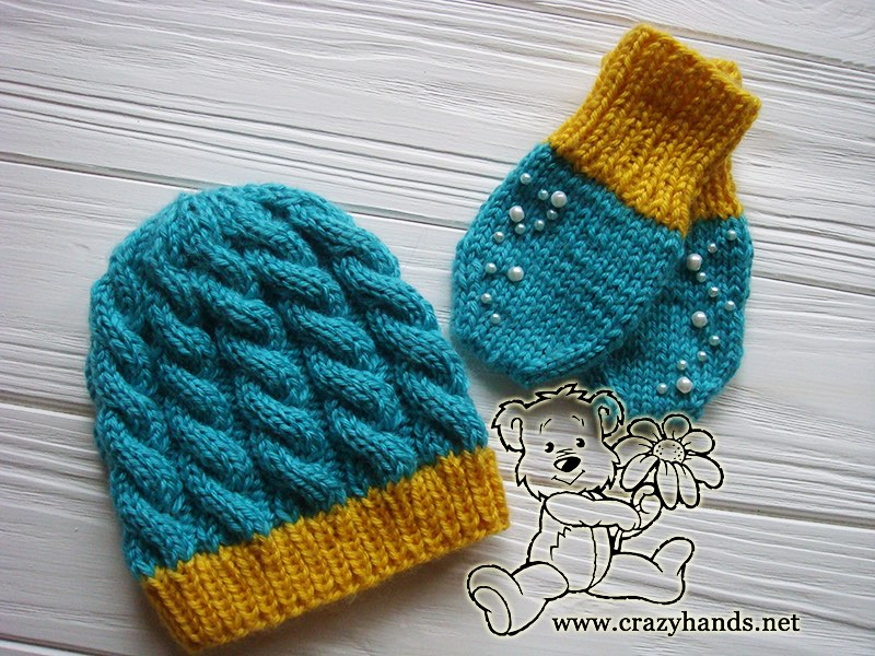 f9dd2f1b469 Blue Primrose Baby Knit Mittens Pattern (Thumbless) · Crazy Hands ...