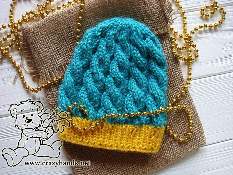 Newborn Blue Primrose Knit Hat