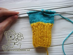 Knitting the main part of baby mittens on double pointed needles