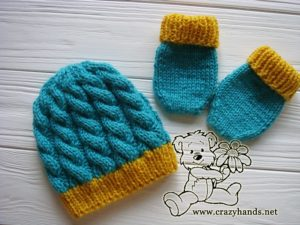 Blue Primrose Knit Hat and Knit Mittens for a Newborn Baby