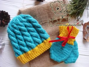 Christmas Blue Primrose Knit Hat and Knit Mittens