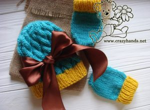 Blue Primrose Knit Hat and Knit Mittens as a Gift
