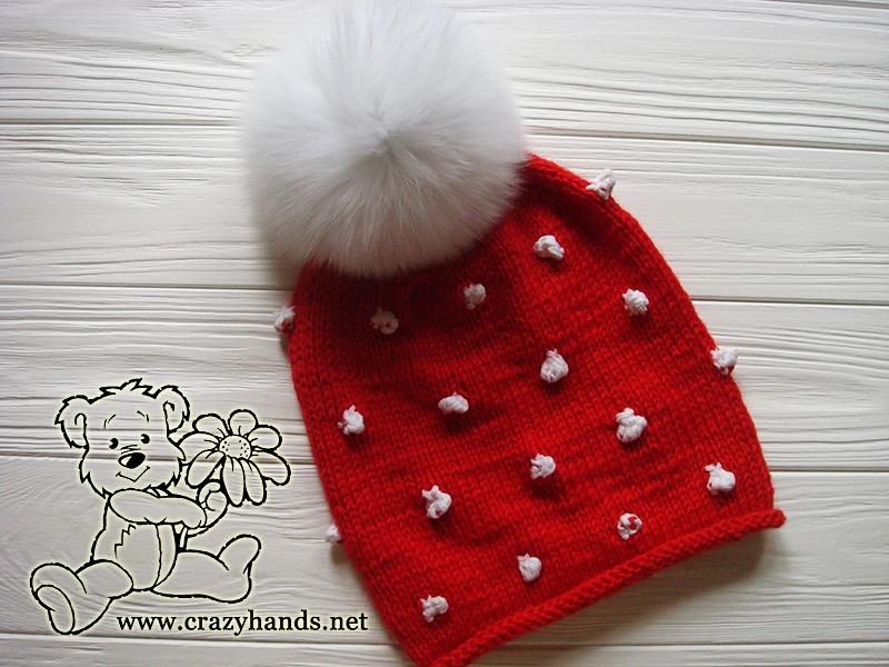 Santa-Style Knit Hat with Fur Pom Pom