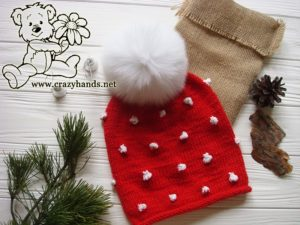 Santa-Style Knit Hat with White Fur Pom Pom
