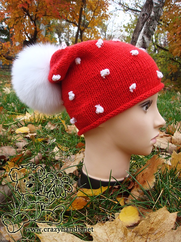 Santa-Style Knit Hat with Pom Pom on Mannequin - side view